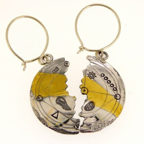 Keum boo silver and gold unique halved earrings scribed antique look, large